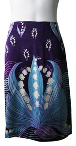 Bilingual Clothing Silk Silk Skirt Purple, Blue, White, Multi-Color, Print