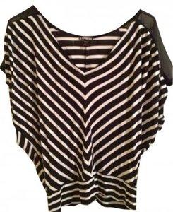 Express Going Shirt Top Black and white