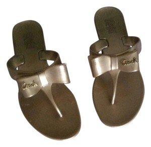 Coach Flip Flops New Trendy Gold Sandals