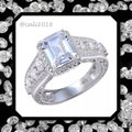 Other New Mega Sparkle Sterling Silver 2.52TCW AAA CZ & White Topaz Ring Sz 9 Image 2