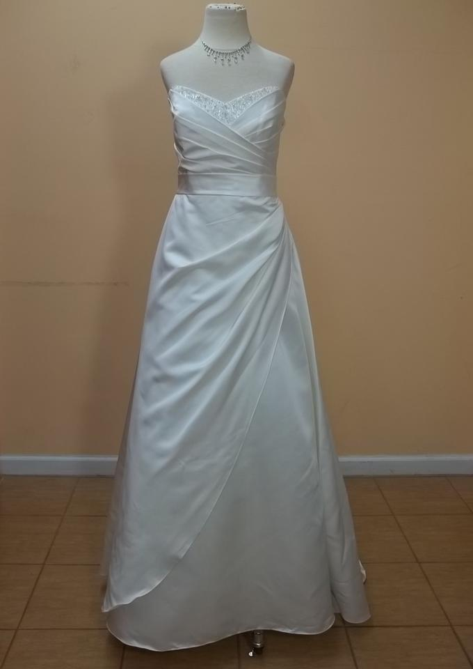 Alfred angelo ivory satin 2200 formal wedding dress size for Best way to sell used wedding dress