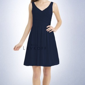 Bill Levkoff Navy Wide V Neck Style #725 Dress