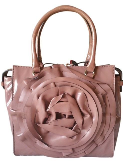 Item - Flower Petale Black Friday Deals Blush Pink Dark Tan Patent Leather Tote