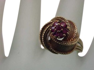 Other Antique Art Deco Genuine Ruby's 14K Yellow Gold Ring, Heavy 8.9gr, Circa 1930's