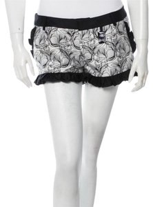 Thomas Wylde Silk Ruffle Summer Mini/Short Shorts Black & White