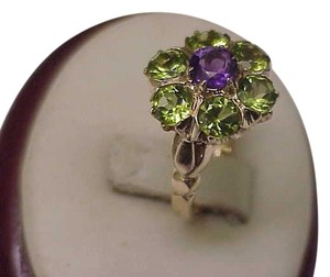 Estate 1920s Gatsby Era 10k YG Genuine 3.50cts Amethyst Peridot Ring