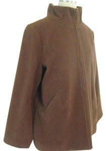 Eileen Fisher Wool Zipper Front Brown Jacket