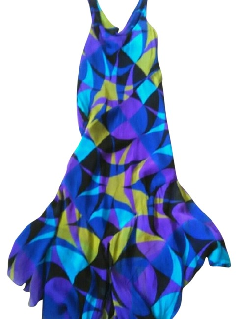 Item - Purple Black Blue Turquoise and Olive Green Multicolor Gown Long Formal Dress Size 2 (XS)