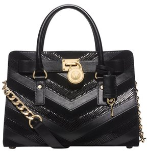 Michael Kors Hamilton Mixed Media Satchel in Black