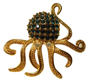 Other large octopus pin with emerald green rhinestones
