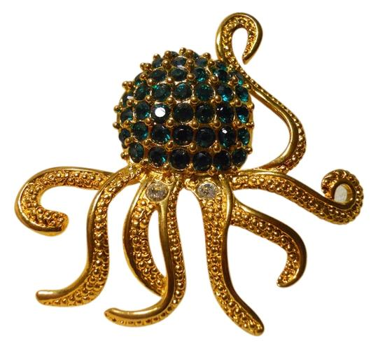Preload https://img-static.tradesy.com/item/14493565/gold-and-green-large-octopus-pin-with-emerald-rhinestones-0-1-540-540.jpg