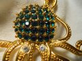 Other large octopus pin with emerald green rhinestones Image 1