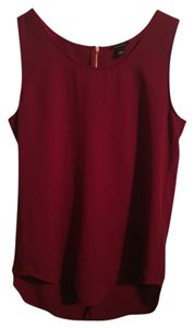 Ann Taylor Gold Zip Top Burgundy