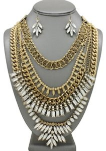 Other Antique Gold Rhinestone Crystal Accent Tribal Boho Chic Necklace And Earrings
