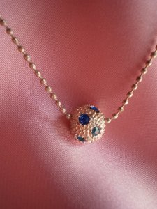 Unknown Mini ball pendant w/rhinestones necklace
