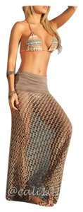 SUMMER SALE New Khaki Mesh Sarong Maxi Coverup One Size