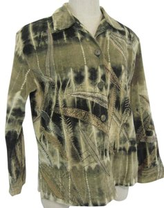 Chico's Chicos Size 1 Green, Brown Camo Jacket