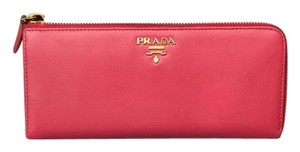 Prada PRADA Saffiano Peonia Pink Leather Zip L- Shape Long Wallet Clutch Gold HW RARE!