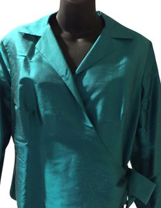 Lord & Taylor Silk Polyester Top Blue Emerald