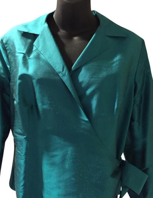 Lord & Taylor Silk Polyester Top Blue Emerald Image 1