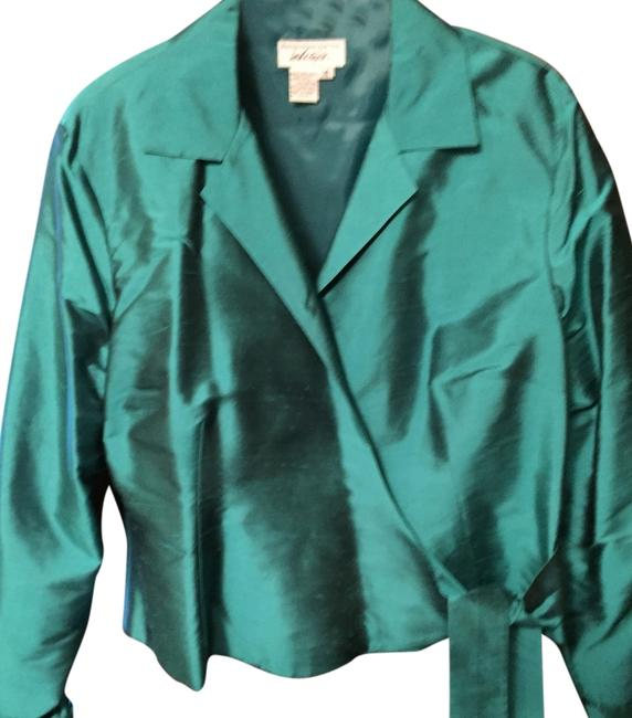 Lord & Taylor Silk Polyester Top Blue Emerald Image 2