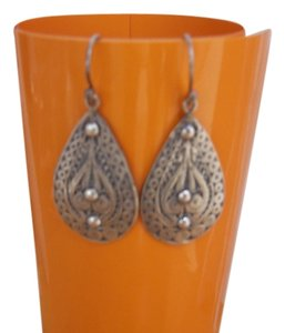 Unknown Sterling Filigree Tear Drop Earrings