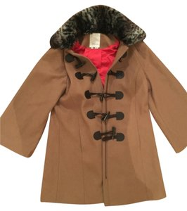 Anthropologie Faux Fur Red Lining Pea Coat