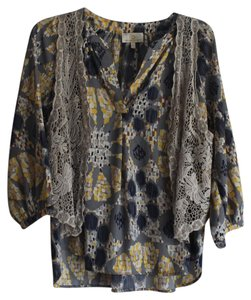 Collective Concepts Boho Printed Loose Top Grey