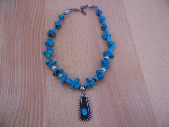 Unknown Sterling & Turquoise Vintage Native American Necklace