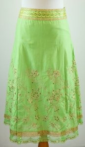 Express Embroidered Embellished Gold Skirt Green
