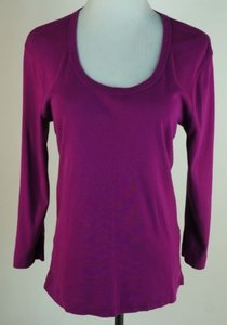 Three Dots Fuchsia Three Quarter Sleeves T Shirt Pinks