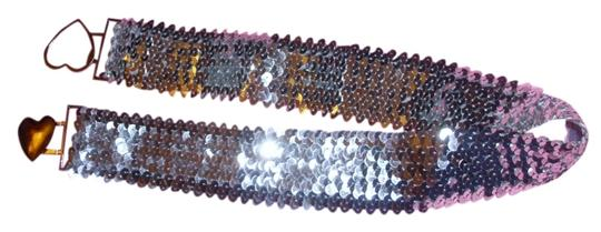 Other Cute fancy dress stretch belt with metallic silver 70s heart clip closure sequins paillets sz med