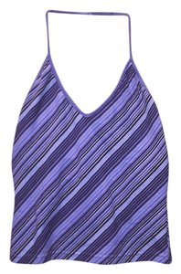 Express Purple Stripes Halter Top