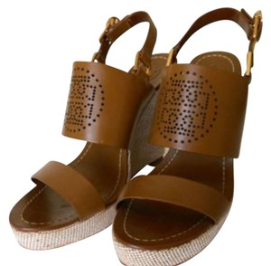 c5773fa556db5 Tory Burch Platforms Strappy Heels Tory Burch Tan Luggage Leather Wedge  Sandals Wedges