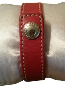 Coach COACH Red Leather Bracelet