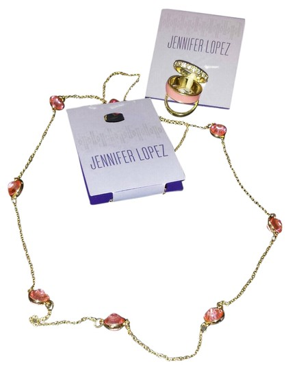 Jennifer Lopez Jennifer Lopez 2 piece Set - Gold with Pink Stones Necklace with matching 3 ring set