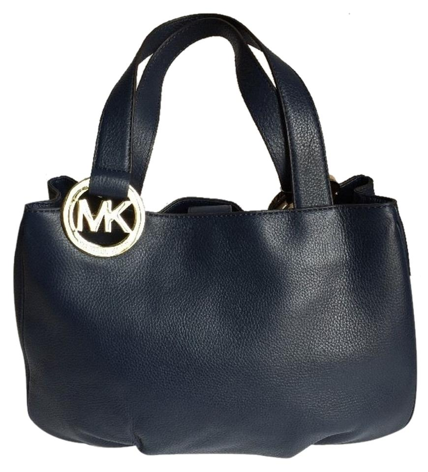 240143e48852 Michael Kors Fulton Large East West Tote + Free Gift Navy Leather ...