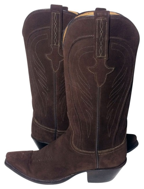 Item - Brown 1883 Suede Leather Western Cowgirl Boots/Booties Size US 6.5 Regular (M, B)