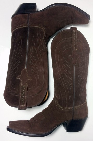 Lucchese 1883 Suede Size 6.5 Brown Boots Image 4