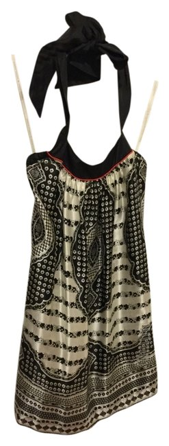 Preload https://img-static.tradesy.com/item/14497771/twelfth-st-by-cynthia-vincent-black-and-ivory-halter-neck-tie-silk-style-6836-mini-short-casual-dres-0-1-650-650.jpg
