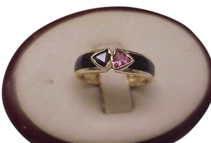 Other Vintage Estate 14K Yellow Gold Genuine Pink Tourmaline And Blue Sapphire Black Enamel Ring, 1950s