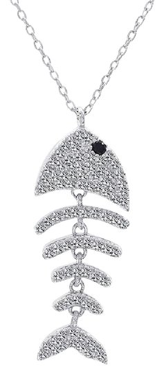 Preload https://img-static.tradesy.com/item/14497858/avital-and-co-jewelry-white-925-sterling-silver-fish-bone-pendant-with-cz-stone-gift-idea-necklace-0-3-540-540.jpg