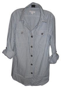 Cotton On Pinstripe Button Down Shirt blue and white