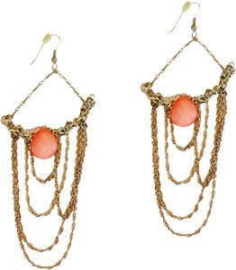 Apartment 9 Peach & Gold Chain Chandelier Earrings
