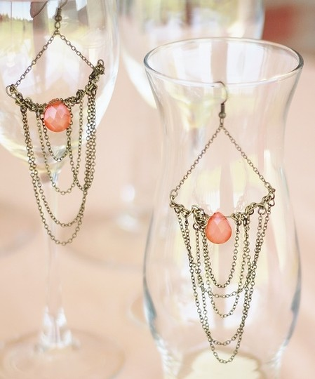 Apartment 9 Peach & Gold Chain Chandelier Earrings Image 1