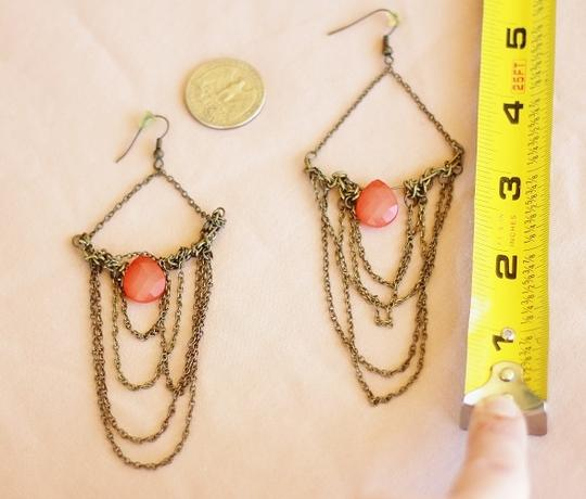 Apartment 9 Peach & Gold Chain Chandelier Earrings Image 2