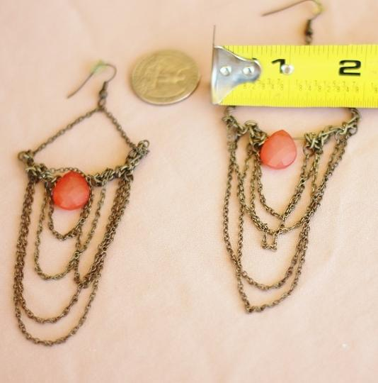 Apartment 9 Peach & Gold Chain Chandelier Earrings Image 3