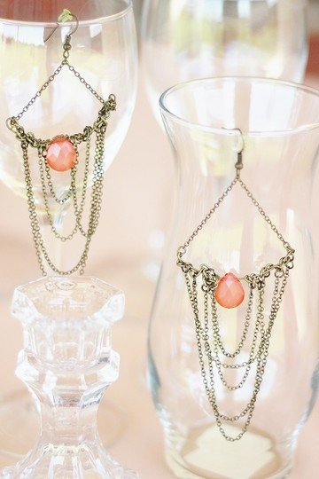 Apartment 9 Peach & Gold Chain Chandelier Earrings Image 4