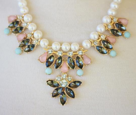 Mossimo Supply Co. Pink & Blue Stones w/ Pearl Statement Necklace