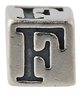 Letter F Block Bead Charm - Sterling Silver 925 Initial Alphabet Jewelry Making